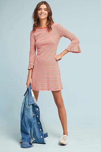 Love the sleeves  Striped #Petite Dress #anthropologie #ad #bellsleeves