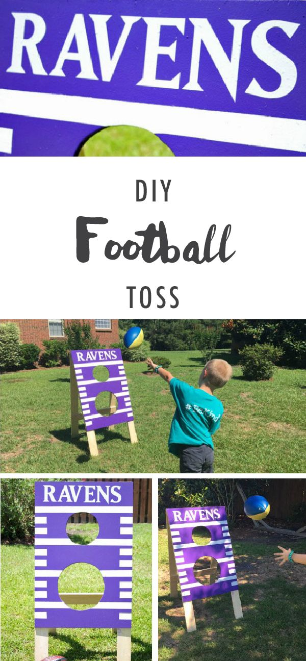 This DIY football toss from Kelly of Here Comes the Sun couldn't be more fun! Decorate this homemade outdoor game with your favorite sports teams for an easy and kid-friendly game this fall.   @kellymoore