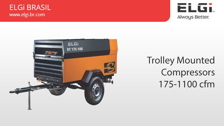 Trolley Mounted Compressors 175-1100 cfm  http://www.elgi.br.com/trolley-mounted-compressors-175-1100-cfm/  ELGi portable compressors are available in single and two stage models to meet a wide range of applications like  jack hammers, rock drills, impact wrenches, chipping tools and sand blasting.  #TrolleyMountedCompressors #TrolleyCompressorsBrazil #IndustrialCompressors