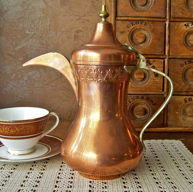 Antique Turkish Copper Teapot Handcrafted Primitive Coffee