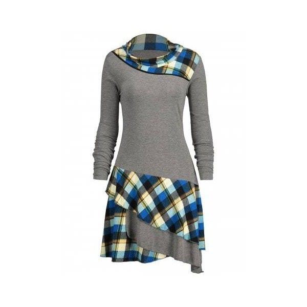 Gray 2xl Plaid Panel Long Sleeve Layered Dress ($20) ❤ liked on Polyvore featuring dresses, gray plaid dress, grey long sleeve dress, tartan dress, long sleeve plaid dress and long sleeve dress