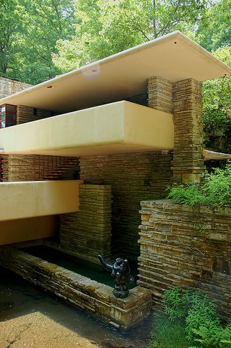 Frank Lloyd Wright designed this spectacular home in 1935 partially over a  waterfall. He named