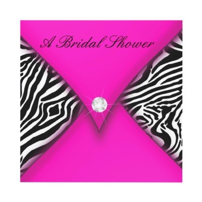 Pink and Black Zebra Bridal Shower Invite by party_depot