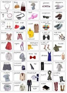 Vocabulario prendas de vestir, ropa y complementos en ingles