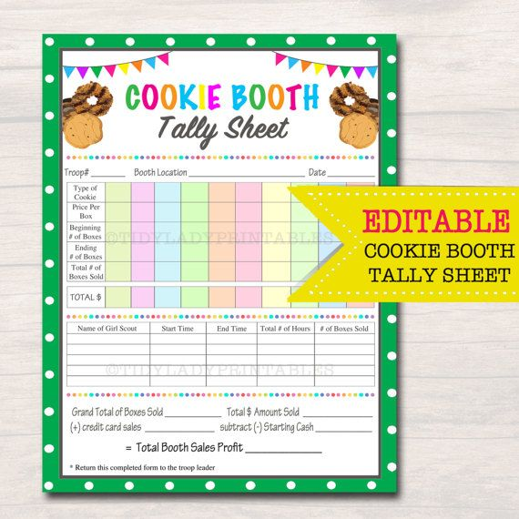 editable cookie booth tally sheet, instant download, troop leader