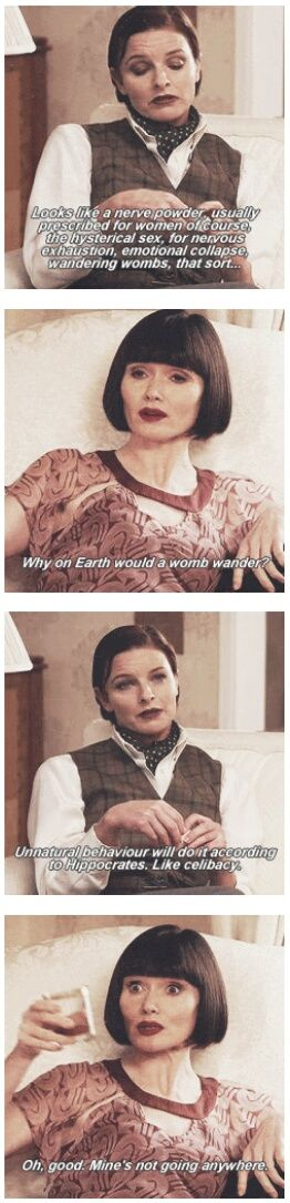 "Miss Fisher's Murder Mysteries: ""Why on earth would a womb wander?"" (gif)"