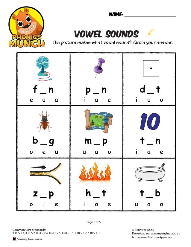 Vowel Sounds Phonics Worksheet Projects to Try Pinterest Vowel