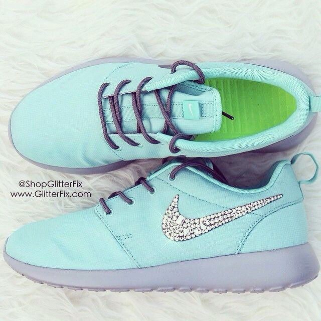 Women Nike Customized Roshe with Swarovski Rhinestones Teal nike free runs  womens new 2015 shoes