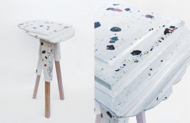 jasmomnite side table / architectural elements reinterpreted using on-site casting techniques in jesmonite and fibreglass