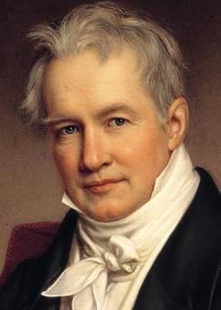 Alexander von Humboldt (1769-1859) gilt als Mitbegründer der Geographie als empirischer Wissenschaft. Er beschäftigte sich aber u.a. auch mit Physik, Chemie, Geologie, Botanik, Zoologie und Astronomie. Sein Bruder Wilhelm (1767-1835) war Mitgründer der Berliner Universität (der heutigen Humboldt-Universität). Dieses Gemälde Alexanders stammt von Joseph Stieler aus dem Jahr 1843.