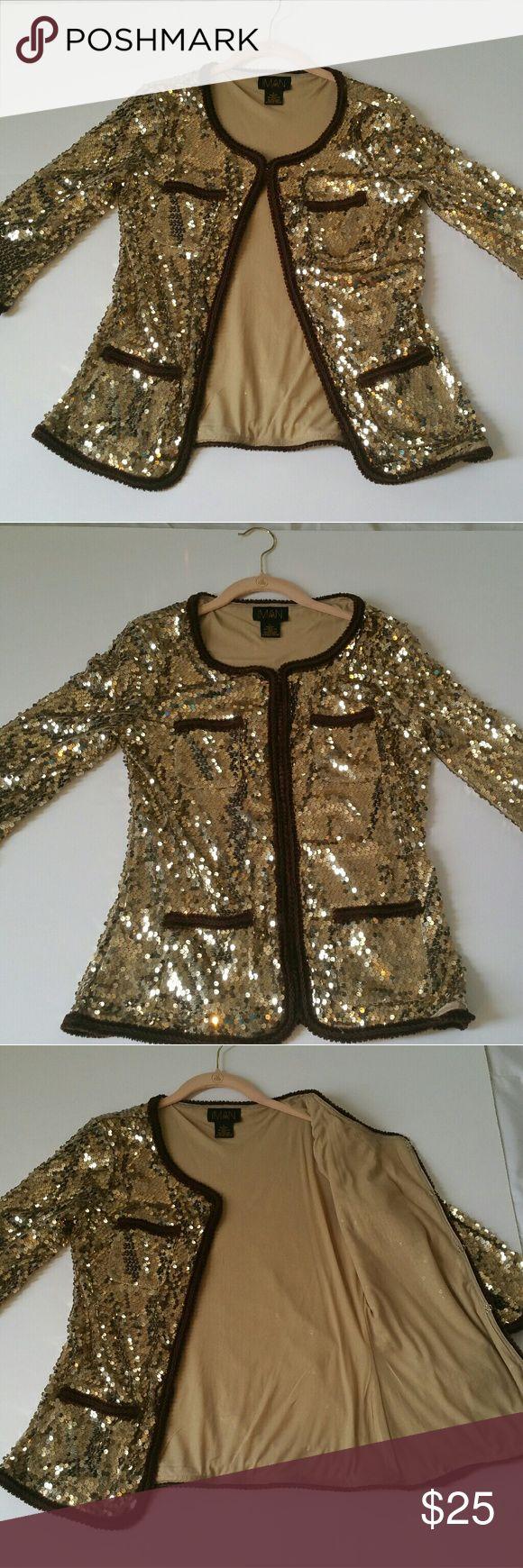 Iman Gold Sequin Jacket/Blazer Size Small Iman Gold Sequin Jacket/Blazer Size Small Iman Jackets & Coats Blazers