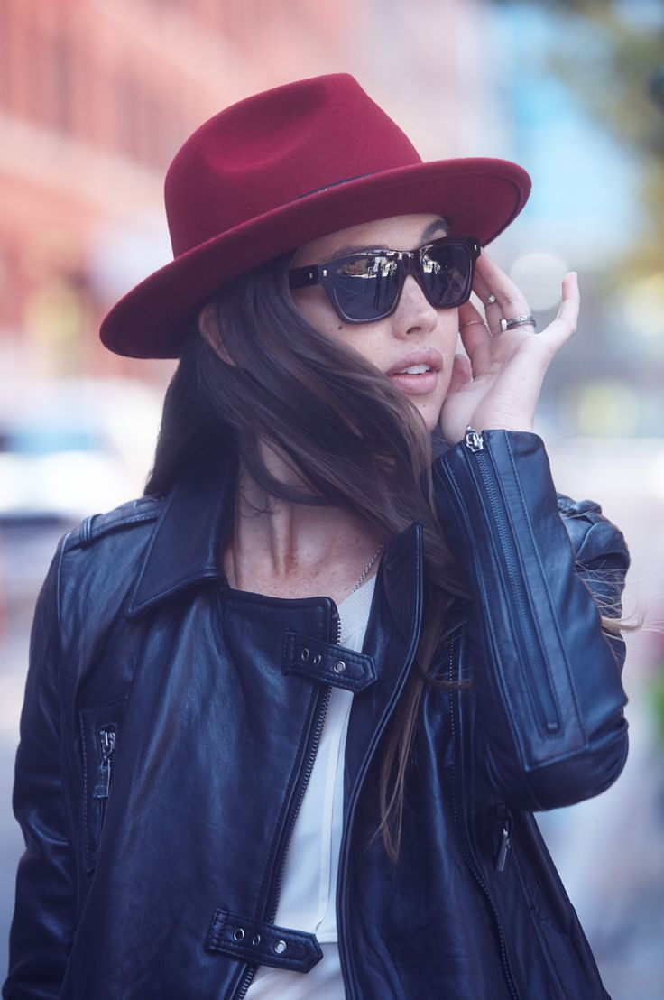 A wool fedora matched with a slick leather jacket? Perfection.: Perfect Fall, Red Wool, Fedoras Hats, Fedoras Matching, Wool Fedoras, Leather Jackets, Red Fedoras, Beats Gifts, Fall Accessories