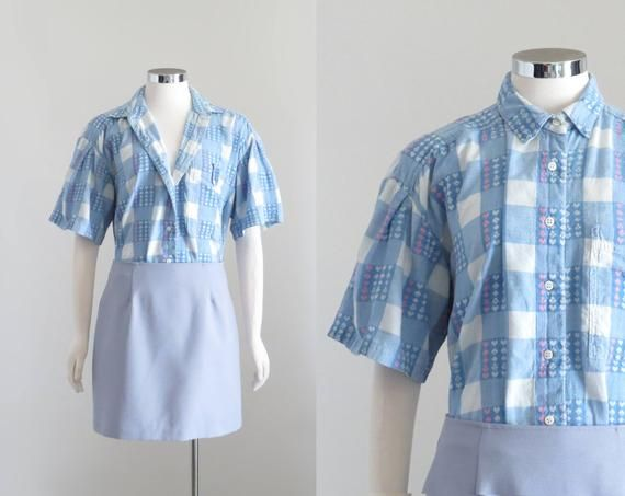 Womens Short Sleeve Button Up Top, Vintage Lolita Shirt, Denim Blue Plaid Blouse with Hearts, Puff Sleeve Crinkle Shirt, 90s Grunge, XL XXL