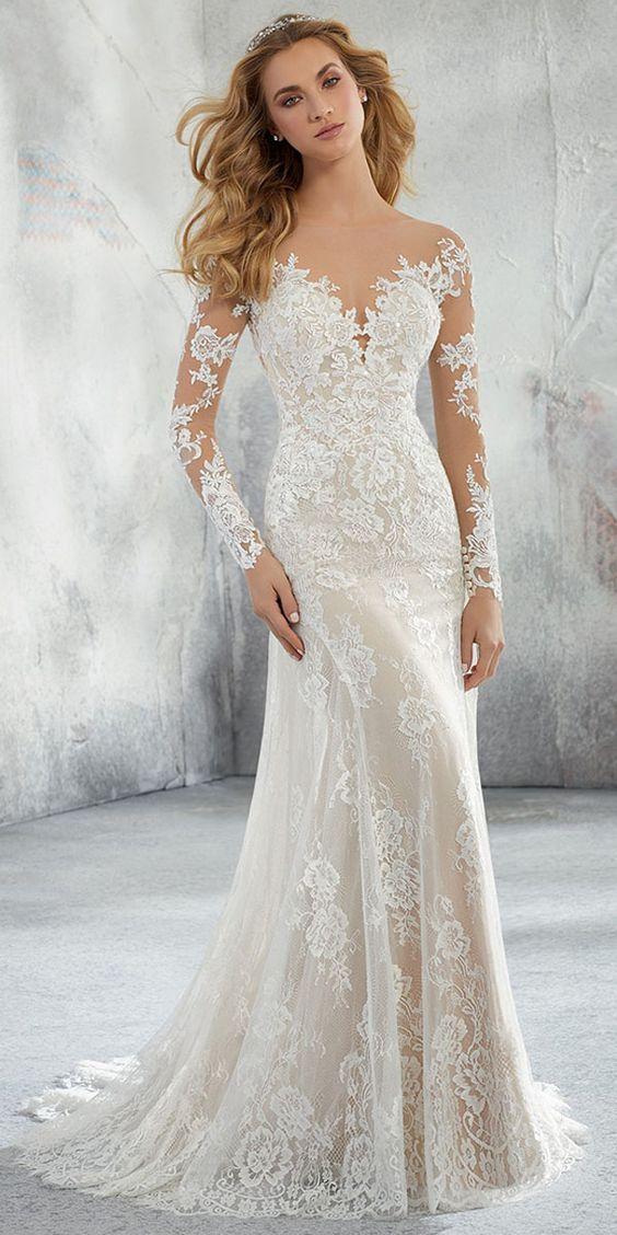 Maravilhoso tule e renda bateau decote vestido de noiva sereia com apliques de renda e miçangas M6161   – Brautkleider Boho