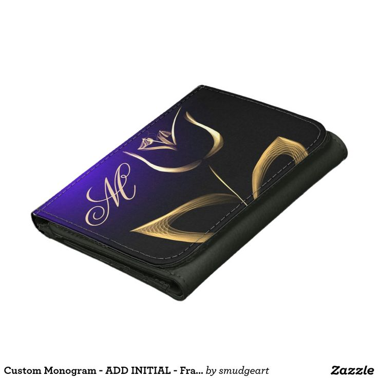 Custom Monogram - ADD INITIAL - Fractal Tulip Tri-fold Wallet