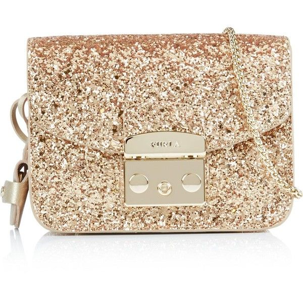 Furla Metropolis Mini Crossbody (£225) ❤ liked on Polyvore featuring bags, handbags, shoulder bags, clutches, gold, chain-strap handbags, gold purse, chain shoulder bag, mini crossbody purse and mini cross body purse