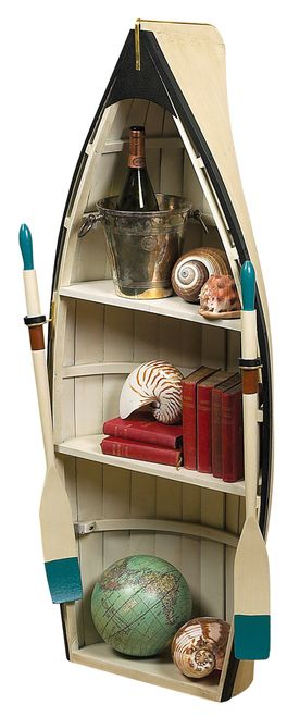 "Dory Bookshelf Glass Table 47"""" Wood Rowing Boat Bookcase Shelf"