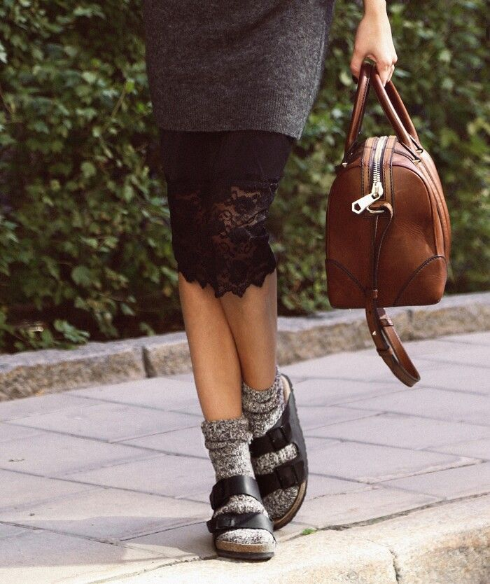 the sock and birkenstock. For winter with baggy jeans and a big sweater. YAAS