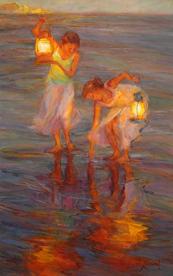 """As twilight appears, the reflections of my vintage lanterns creates the feeling of Peace. """"Peace"""" 36 x 23, Oil on Board"""
