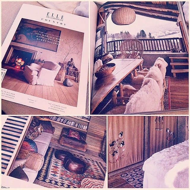 beautiful edition of @elledecor country vol. 5 finds me longing for this texture filled boho chic chalet #interiors #interiordesign #chalet #snow #bohemian