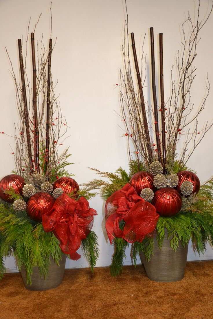 Urn ideas For Christmas,These pots were great fit for most Urns.