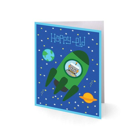 Rockets 'n Robots Eid Greeting Cards | SilverEnvelope.com: Islamic #Party & Stationery | #eid #cards