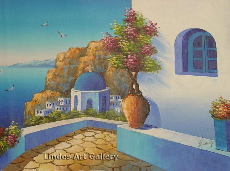 Oil Paintings : Santorini Blue Church and Patio Oil Painting