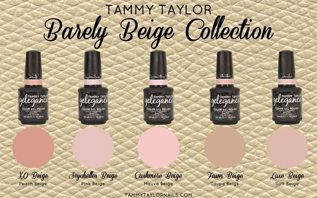 """♥ Tammy Taylor BRAND NEW!! """"BARELY BEIGE"""" COLLECTION<br /> 5 BEAUTIFUL GELEGANCE GEL POLISH COLORS"""