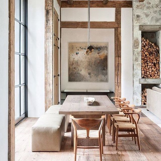 Another wow from #dstandixonarchitect. Beautifully rustic but so welcoming and elegant. Gorgeous windows bringing in so much light. . . . . #kateabtdesign #design #interiors #instadesign #decor #roughluxe #styling #luxuryinteriors #luxuryhomes #instadesign #beams #diningroom #dining #artwork #homedecor #diningtable #lighting #chairs #fireplace #custom #architecture #woodfloors #reclaimedwood #steelwindows