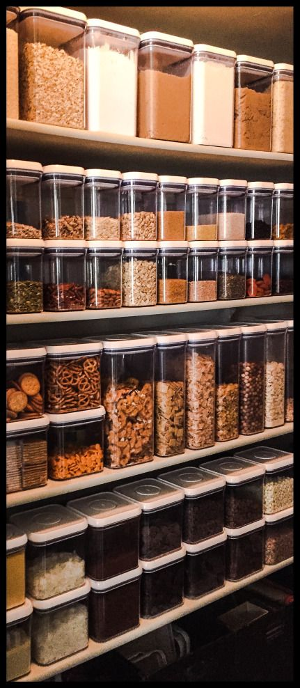 Clear storage containers that are stackable will maximise your pantry space
