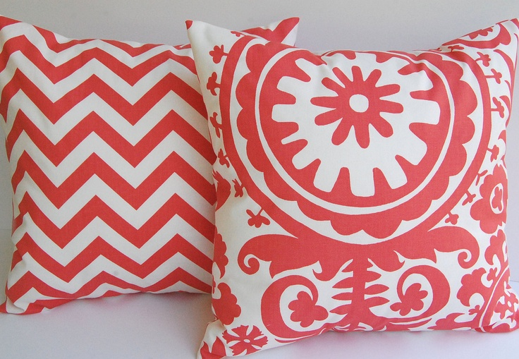 Coral chevron throw pillow covers set of two 18 x 18 coral and white zig zag chevron stripe and Suzani. $34.00, via Etsy. Living Room Accent Pillows