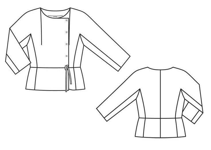 Жакет-блузка с рукавами кимоно - выкройка № 134 из журнала 12/2013 Burda – выкройки на Burdastyle.ru