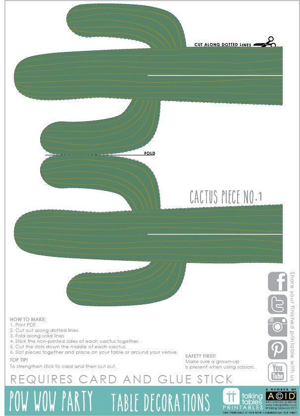 Pow Wow Party Free Printable Cactus