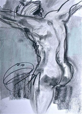 """L'homme de dos VENDU , 2009, dessin ÖMiserany© 12"""" x 9"""", fusain sur papier www.omiserany.com"""
