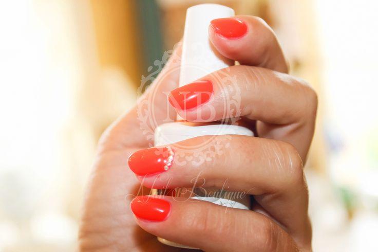 Light orange red nails