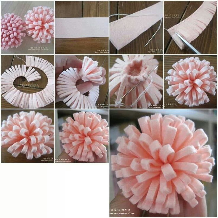 DIY FELT FLOWER. You could easily replace the stitching w/ hot glue