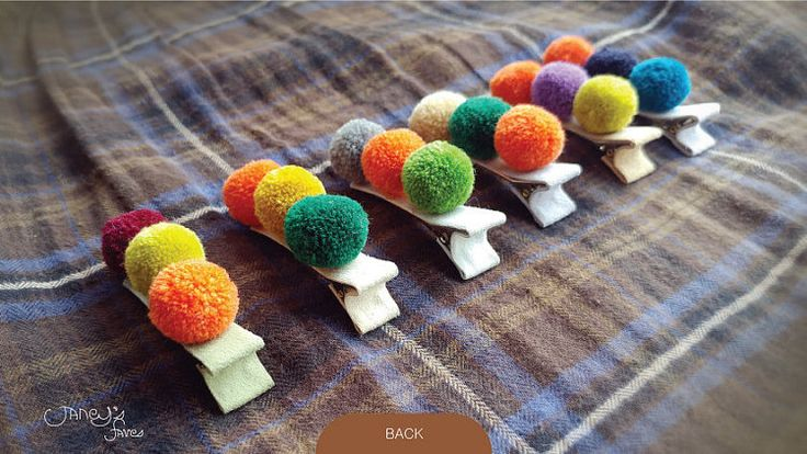 Pompom Baby Hair Clips Infant Head Clips Alligator by Janeysfaves