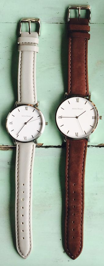 Couple watches  Silver classic mens & womens watch  His & Hers Leather & Suede
