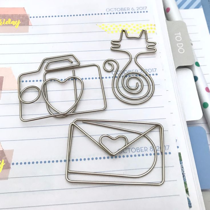 Planner Clips Silver Kitty Cat Camera & Happy Mail Envelope Page Marker Paperclip Large by Hobbyhoppers on Etsy
