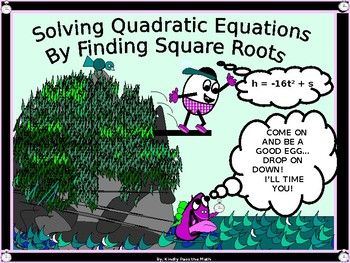 "The following power point presents the student with a lesson on Solving quadratic Equations using Square Roots.*  Students learn to write Quadratic Equations in standard form.*  Students learn about and understand what a ""leading coefficient"" is *  Students learn how to adjust a Quadratic Equation when 'b' is zero in standard form*  Students learn how to isolate the x term in order to solve the quadratic equation*  Students learn to write their solutions in radical form when the square roots…"