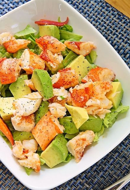 Lobster Avocado Salad CAN YOU SAY, WOW. LET'S EAT. WHAT A SIMPLE, EASY DELICIOUS, SALAD TO PREPARE FOR YOUR FRIENDS. THEY WILL BE THRILLED WITH THIS AND VERY LITTLE INGREDIENTS AND SO SO SCRUMPTOUS. TRY THIS AND SEE THERE EYES SMILE WITH JOY, WHEN THEY TAKE THERE FIRST BITE...ENJOY