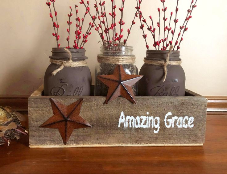 A personal favorite from my Etsy shop https://www.etsy.com/listing/522458886/primitive-mason-jar-centerpiece-rustic