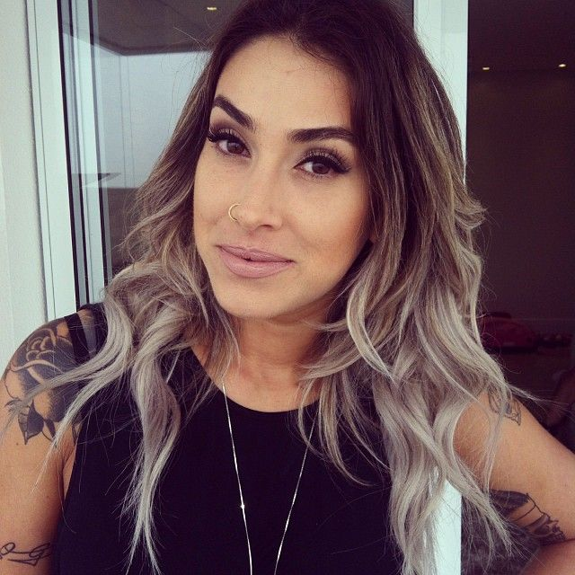 Brown and silver hair. The gradation of colour is nice.. I would love to have grey ends fading upwards