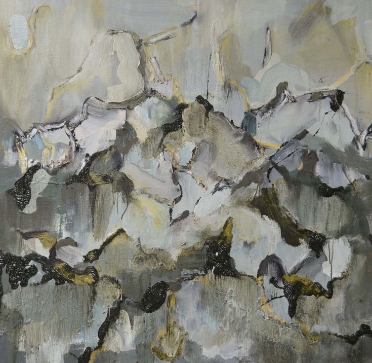 Topography I.  30 x 30 inches.   Original Oil painting from Grayscapes series based on landscapes from the west coast of British Columbia, Canada.  Abstracted view in grays, browns, grays and gold.