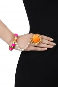Gold Gota Flower Hand Harness #aprajitatoor #jewellery #shopnow #ppush #happyshopping