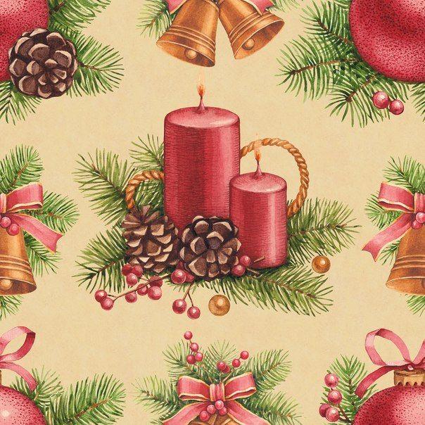 Новогодний фон красные свечи с сосновыми шишками.