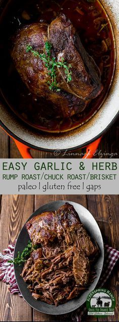 Cooking rump roast, chuck roast, or brisket? Try this easy garlic herb roast recipe that's perfect for fall! AIP, GAPs, Paleo, Gluten Free. Chuck Roast Recipes in the Oven | Rump Roast In the Oven | Brisket Recipes Oven