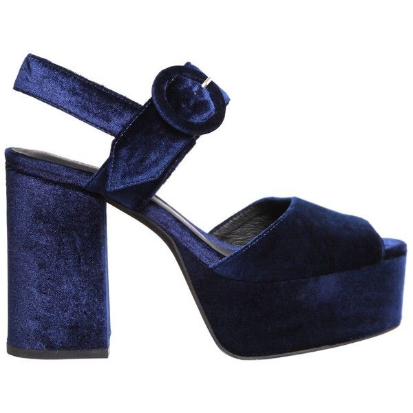 Jeffrey Campbell Women 110mm Masie Velvet Platform Sandals ($160) ❤ liked on Polyvore featuring shoes, sandals, heels, navy, high heel sandals, navy heeled sandals, high heel platform shoes, navy blue high heel sandals and high heel shoes