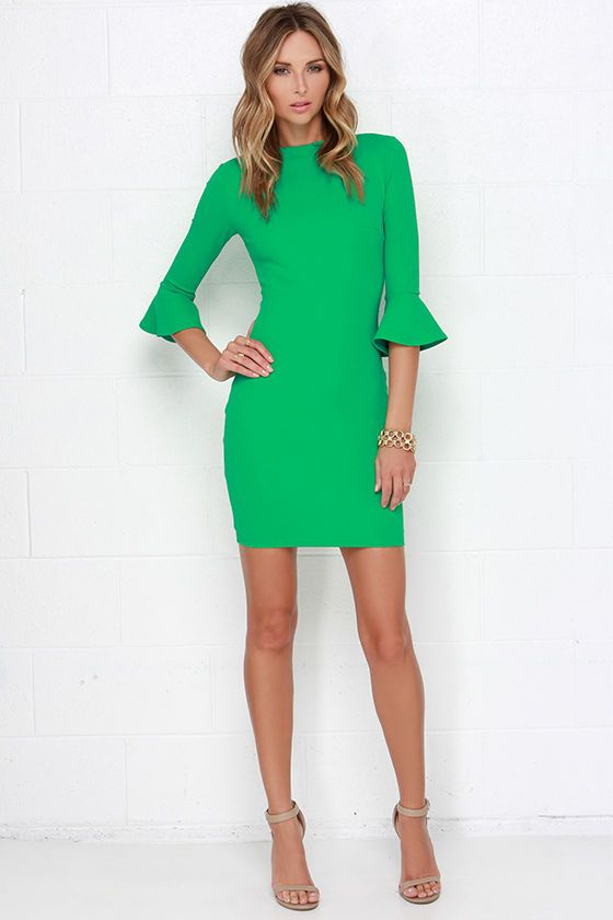 Who's the most stylish girl around? It will be you for sure in the Sleeve Your Mark Royal Green Bodycon Dress! This stretch woven number starts with a classic funnel neckline that rests atop three-quarter sleeves with ruffled hems. Side darts accent the bodycon bodice that ends at a modest length. Hidden back zipper with clasp. Fully lined. Self: 95% Polyester, 5% Spandex. Lining: 100% Polyester. Hand Wash Cold.