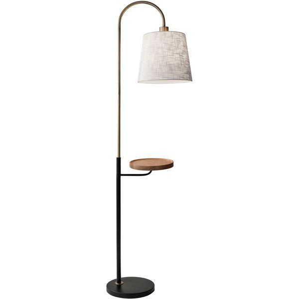 Jeffrey Shelf Floor Lamp ($180) ❤ liked on Polyvore featuring home, lighting, floor lamps, beige lamps, wooden lamps, alabaster lighting, wood lighting and soft white lights